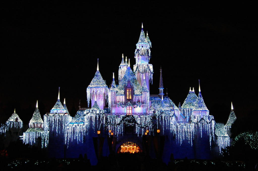 At night, Sleeping Beauty Castle glimmers in thousands of sparkling light designed to look like icicles.