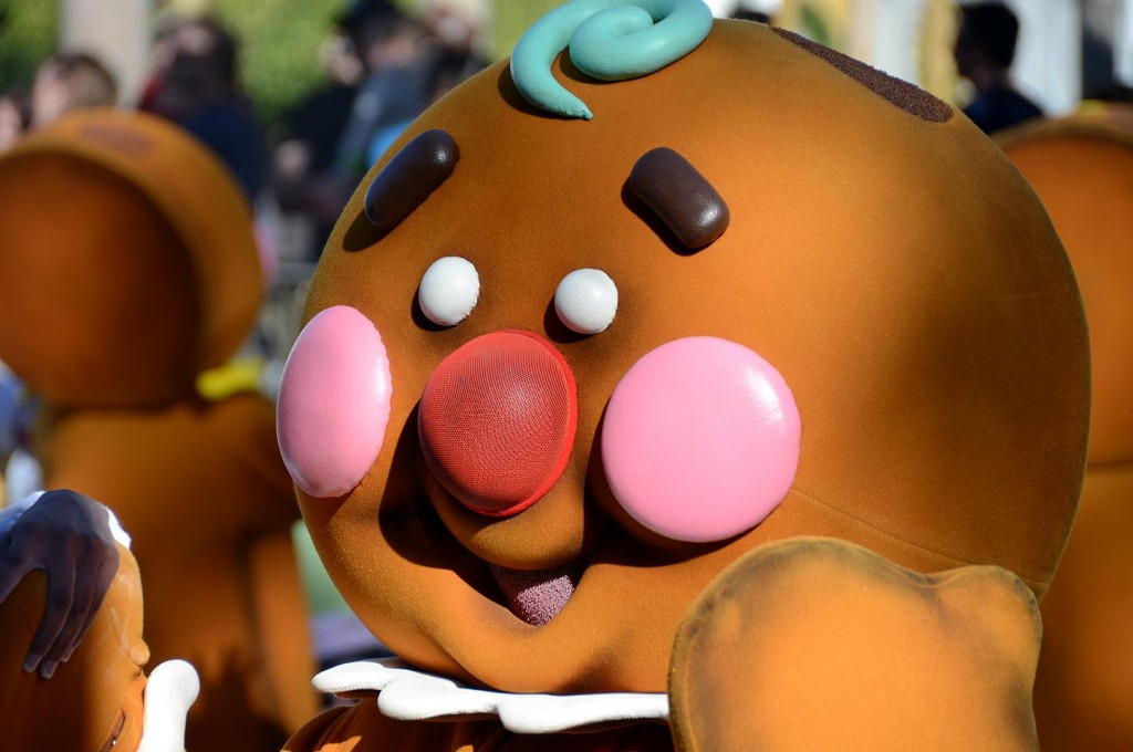 The Christmas parade is an annual favorite.  This is a photo of one of the gingerbread men who parade from it's a small world to Town Square on Main Street.
