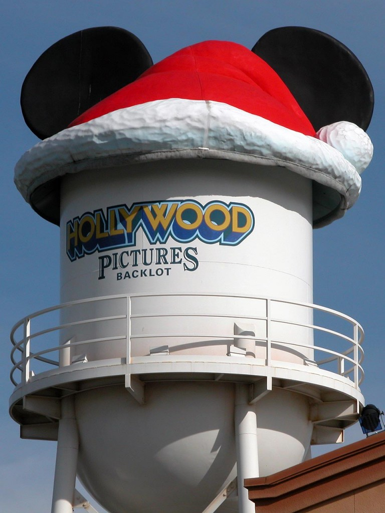 The water tower in the Hollywood Pictures Backlot section of Disney's California Adventure sported an oversized Santa hat.